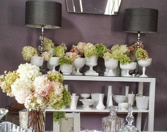 Hydrangea Centerpices, Milk Glass For Rent, Weddings, Centerpieces , Floral Arrangements  DIY Hydrangeas