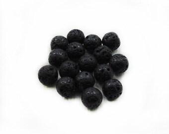 10mm Black Lava Beads, Black Beads, Lava Beads, Black Lava Beads, 10 pcs Lava Beads, Jewelry Making, Craft Supplies
