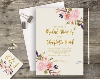 Floral Bridal Shower Printable Boho Chic Wedding Invitation Suite Bohemian Wedding Invite Gold Typography Spring / Summer Wedding