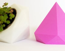 Geometric Plant pot set of 2, 3D Printed Diamond Set