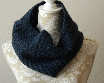 Navy Heather Cowl Scarf Crocheted