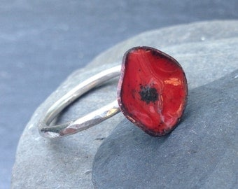Poppy Ring Red Enamel And Silver Poppy Ring Jewellery