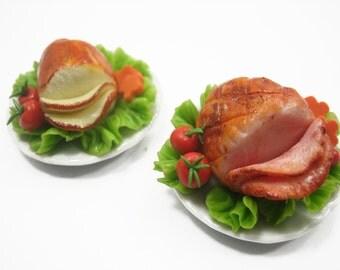 DollHouse Miniature Set 2 Thanksgiving Food 3.5cm Steak Ceramic Plate Supply Deco Charms - 11215