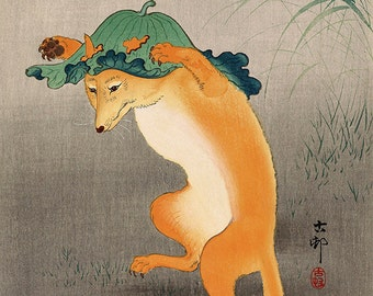 Japanese Fine Art Reproduction, Wall Art, Animal Illustration, Ukiyo-e, Woodblock Print, Home Decor, Japanese Painting, Fox and Lilypad