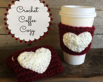 Burgundy Coffee Cozy with White Heart