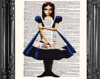 Dark Alice In Wonderland- Dictionary Print Art- Upcycled Antique Book Page- Print On Dictionary Book-Visit Shop To See More