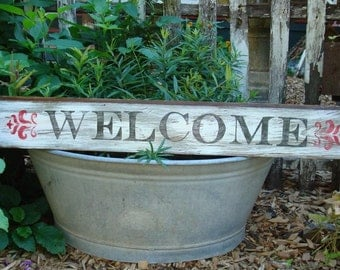 Handpainted and distressed large wood Welcome sign