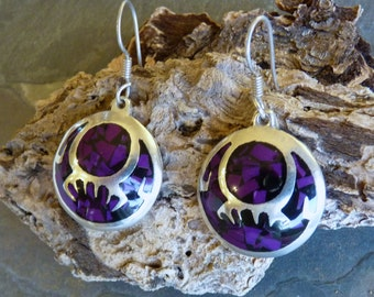 PURPLE TURQUOISE TAXCO ~ Silver 925 ~ Earrings ~ Vintage ~ 1970's