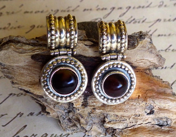 SILVER 925 Vintage Earrings with Simulated Brown Agate