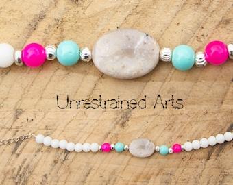 White Jasper & Ceramic Bead Bracelet