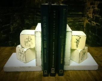 Alice in wonderland bookends,wooden bookends,bookends,handmade,mad hatter,white rabbit,vintage alice in wonderland,tweedle dum,personalised