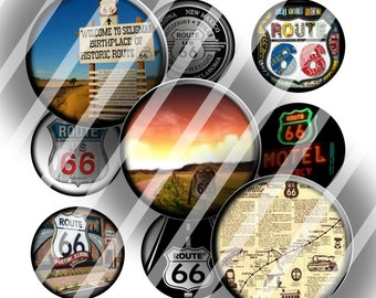"Digital Bottle Cap Collage Sheet - Route 66 - 1"" Digital Bottle Cap Images"