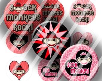 Digital Bottle Cap Collage Sheet - Sock Monkeys - 1 Inch Circles Digital Images for Bottlecaps