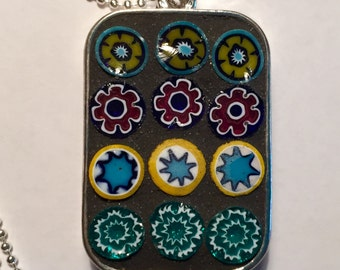 Mosaic Reversible Glass Millefiori Pendant Necklace Handmade Rectangle