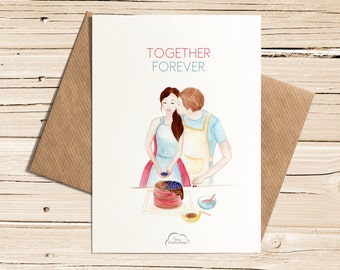 Printed Watercolor cards, Together Forever, A couple are cooking, Card