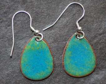 Blue and green enamel egg drop earrings