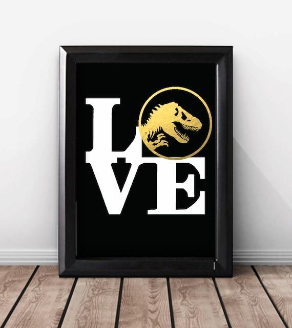 Shiny gold foil dinosaur print dinosaur wedding gift for for Room decor gifts
