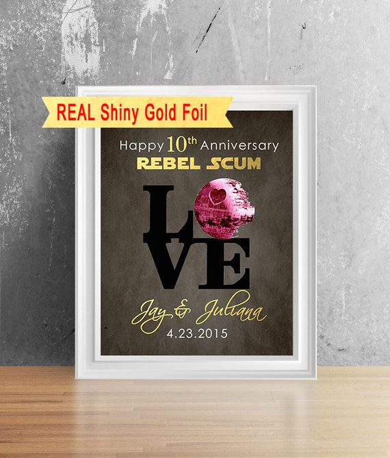 Tenth Wedding Anniversary Gift Ideas For Him: Items Similar To Shiny Gold Foil 10 Year Anniversary For