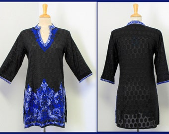 New Black With Royal Embroidered Artsy Designer Tunic top .S,M,L