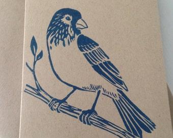 Bird handmade block printed card (small)