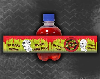 """Zombie Birthday Party 'Chubby"""" Pop Labels / Instant Download / Digital File"""