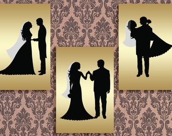 40x60 Set of 3 Prints Wedding Party Silhouettes Bridal Silhouettes Gold Black Wall Prints Decor Printable Digital Art / Instant Download