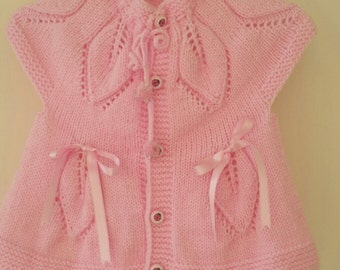 Pink knit baby dress, baby dress, knitted baby dress, baby dress, baby clothes, baby shower gift, hand knit baby dress, knitted baby clothes