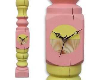 unique clock made of upcycled   recycled   repurposed   reclaimed furniture legs - cool & beautiful wall timepiece with a statement.