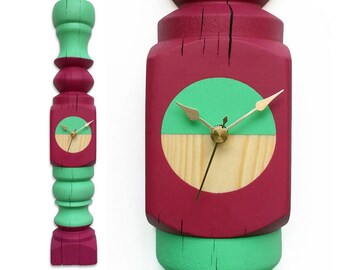 unique clock made of upcycled   recycled   repurposed   reclaimed furniture legs - cool & beautiful wall timepiece with a statement