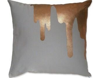 copper splash - on light grey | throw pillow | toss pillow | decorative pillow | cushion cover | icecream drips