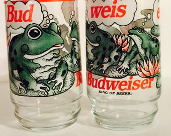 Vintage Bud Beer Frogs Glass Cups