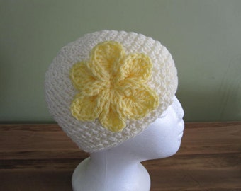 "Handmade Off white with yellow flower crochet  ""BEANIE"""