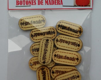 Button label wood 20 x 15 mm units – wooden labels - wooden tags - handmade tags-wooden buttons
