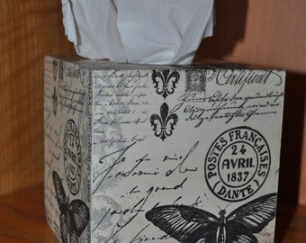 Butterfly Mail Decoupage Tissue Holder