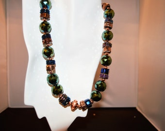 Blue Green AB Bead Necklace