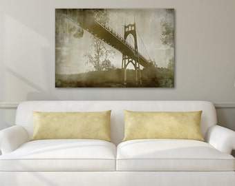 Canvas Wall Art, Large bridge photograph, Vintage Photograph, Sepia Photography, Portland Photography, St. John's Bridge, Bridge art