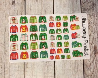 Ugly Sweater Themed Deco Sheet Planner Stickers- Erin Condern/ MAMBI Happy Planner