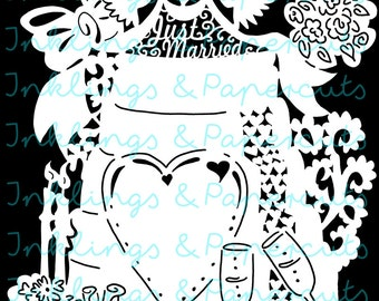 Intricate Wedded Bliss Wedding Hand Drawn Original SVG for Paper or Vinyl Crafting - Commercial Use