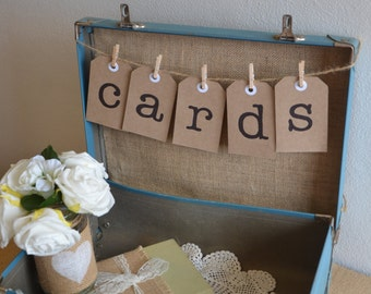 Wishing Well Sign - CARDS - Luggage Tag Bunting - ideal wishing well at wedding or engagement party