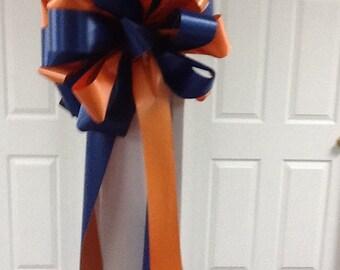Auburn orange & blue mailbox bow