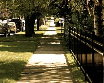 Walk down the sidewalk