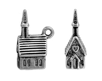 3 Church Charms, 3D Very Detailed, Antique Silver Tone (1L-182) NEW2