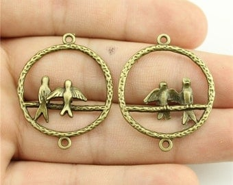 2 Bird Charms, Antique Bronze Tone (1G-134)