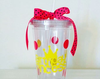 Birthday Princess Tumbler Cup, Birthday Cup, Birthday Party Cup, Princess Cup