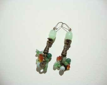""""" long earrings ""Bohemian chic"", bronze, green jade, Carnelian"
