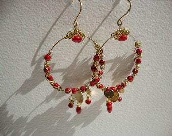 Earrings hoops boho chic, Red