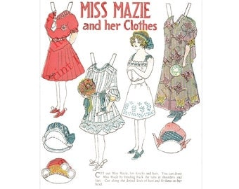Paper Doll Miss Mazie Printable Paper Doll 1900's Newspaper Paper Doll Digital Instant Download