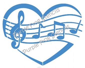 Music STENCIL (Reusable) Different Sizes Available I love Music, Music to my Heart