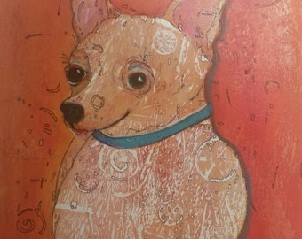 "ChaChaKhan, The Effervescent Chihuahua: Original 11"" x 14""  Painting by Artist, Toni Young"