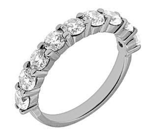9 Stone Diamond Ring, 9 Stone Diamond Wedding Band, 9 Stone Wedding Ring, 9 Stone Diamond Wedding Band 14k White gold.